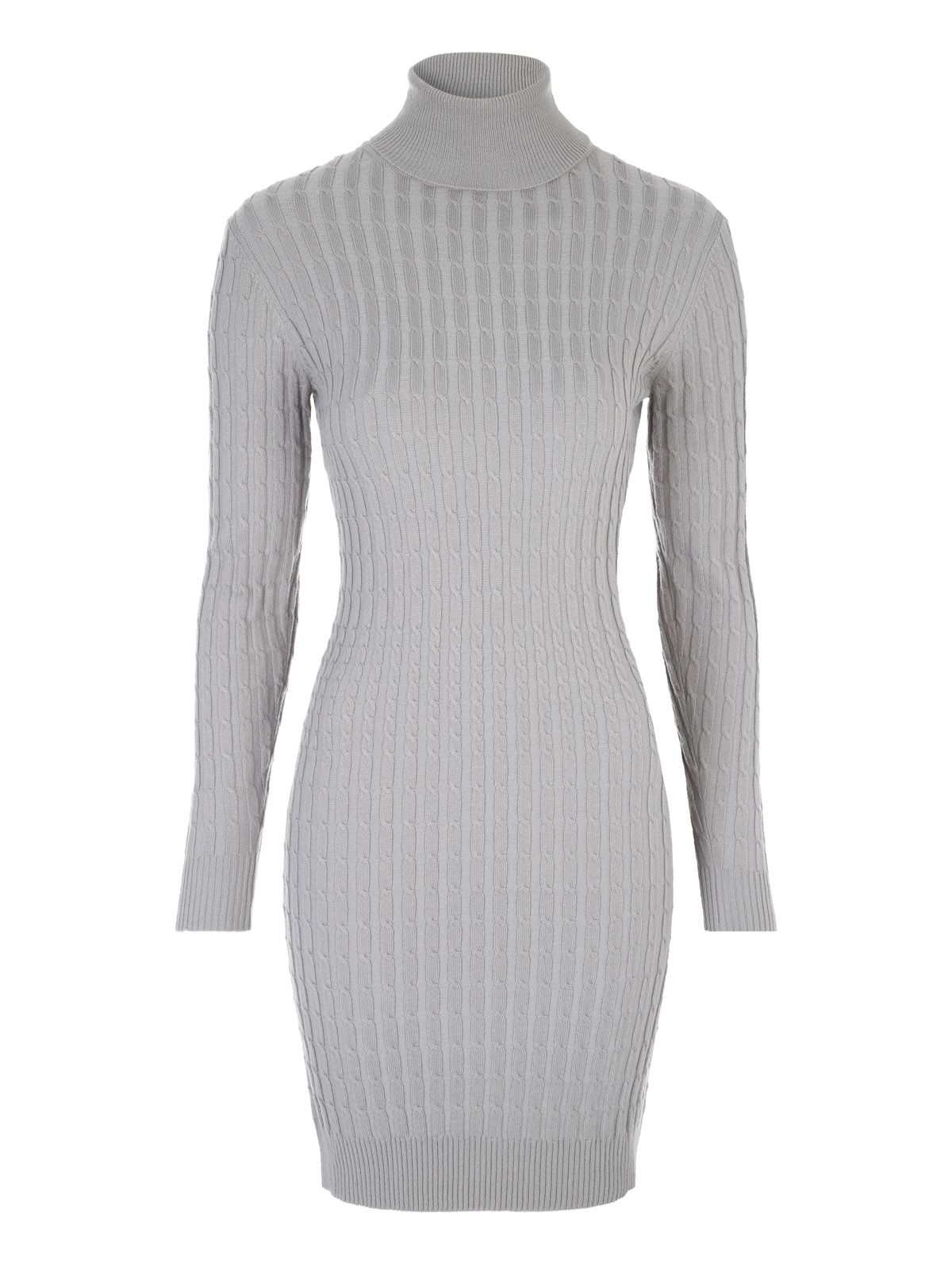 Jane Norman Grey High Neck Jumper Dress Grey