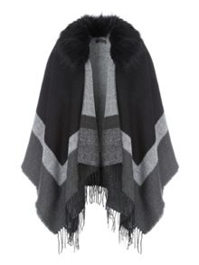 Jane Norman Faux Fur Trim Cape Cardi
