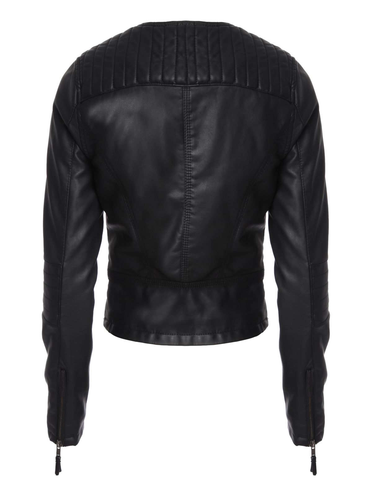 Black Padded PU Biker Jacket