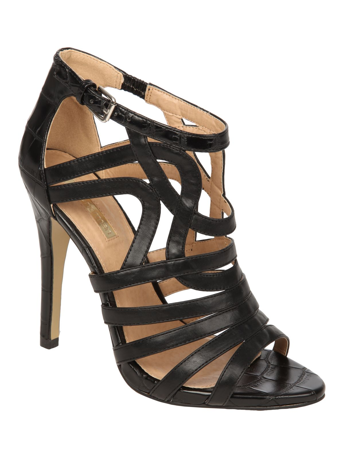 Black high heel cage evening shoe