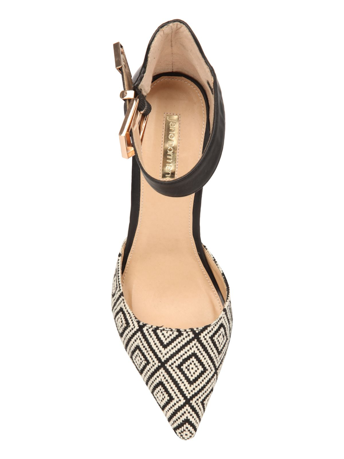 Pointed jacquard high heels