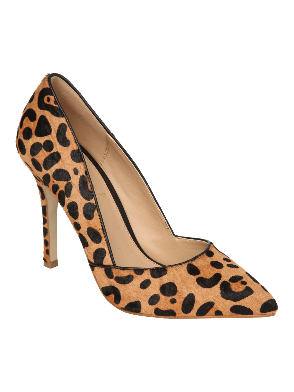 Brushed animal print pointed court shoes