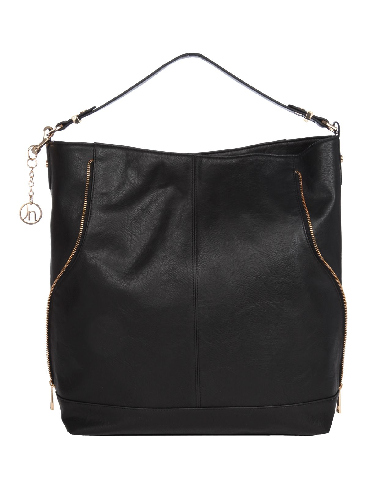 Zip detail hobo handbag