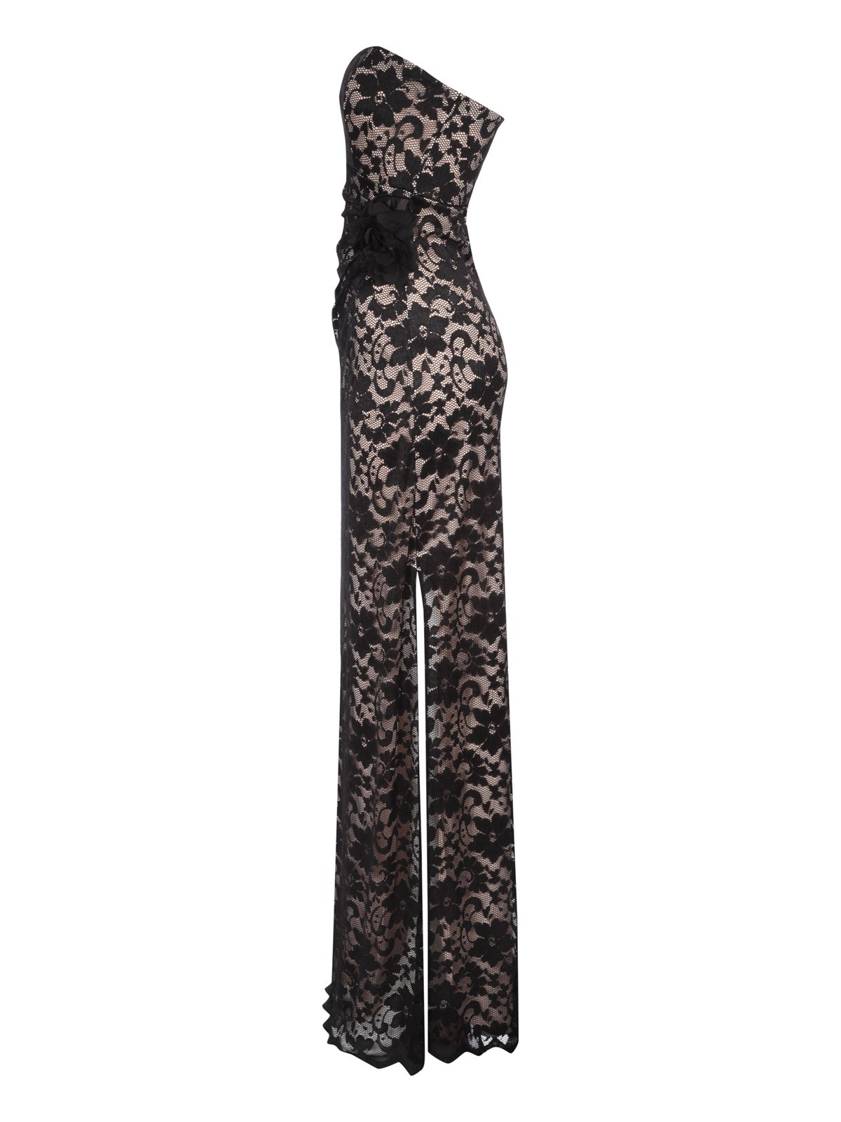 Bandeau contrast lace maxi dress