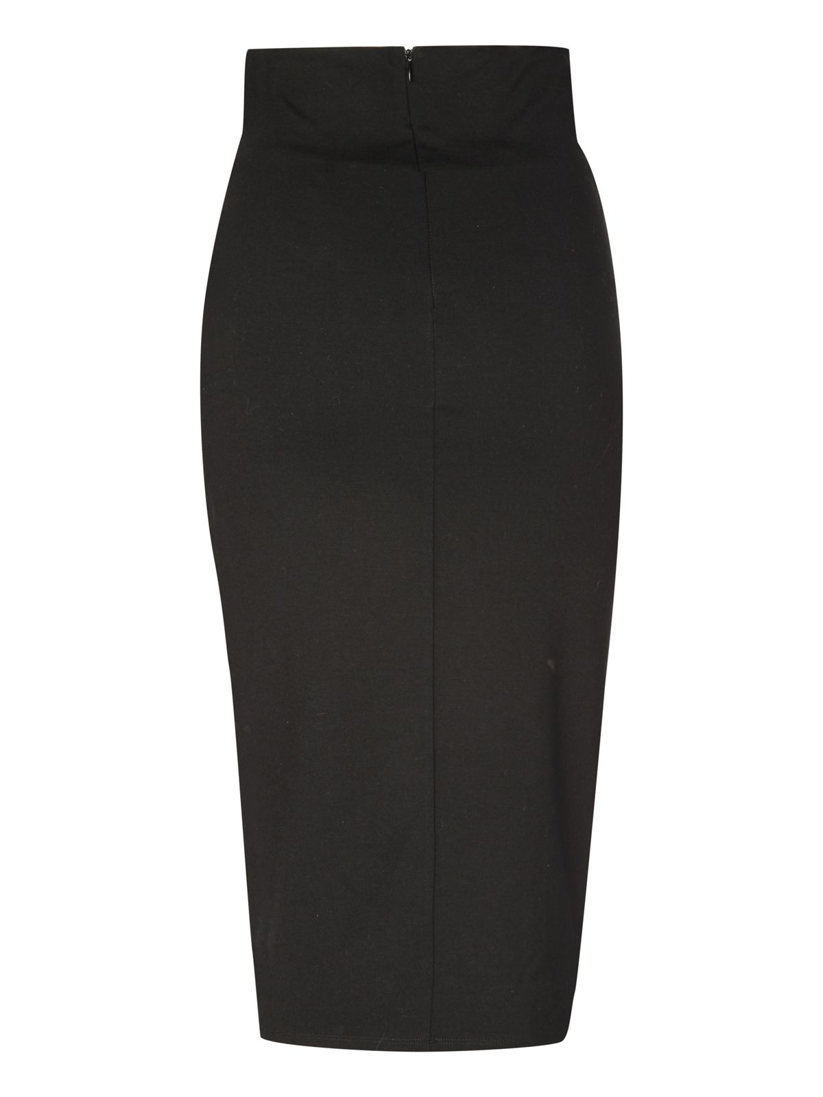 Pu zip panel pencil skirt