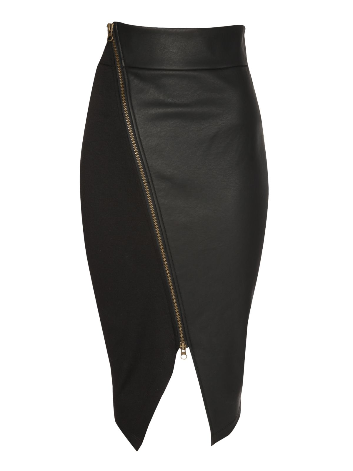 Zip front PU skirt