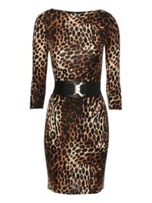 Belted animal print bodycon dress