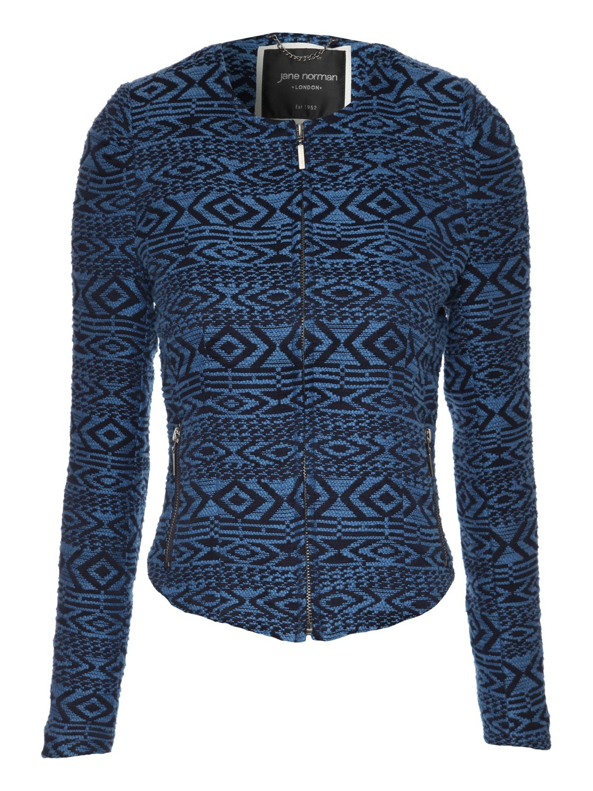 Tribal jacquard zip front long sleeve jacket