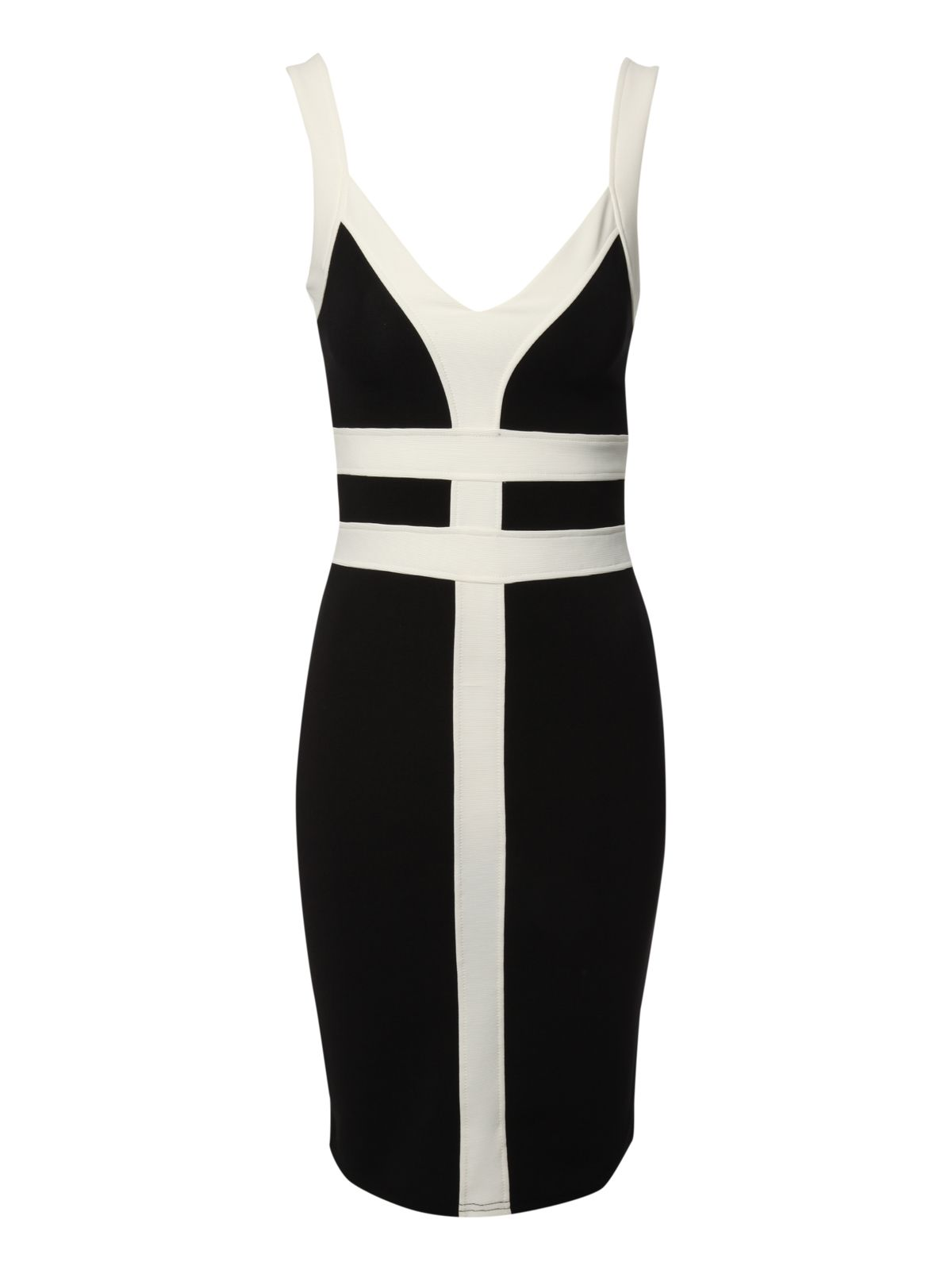 Monochrome rib bodycon dress
