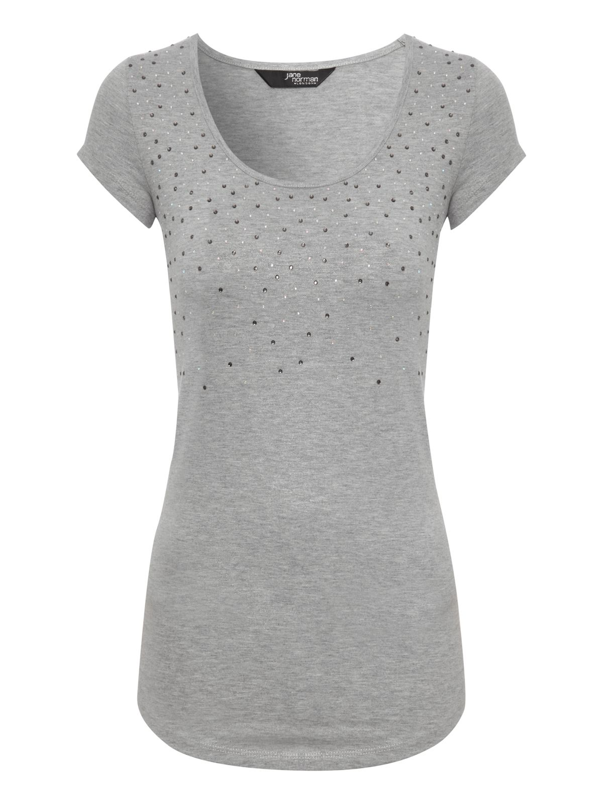 Jane Norman Diamante embellished top, Silver