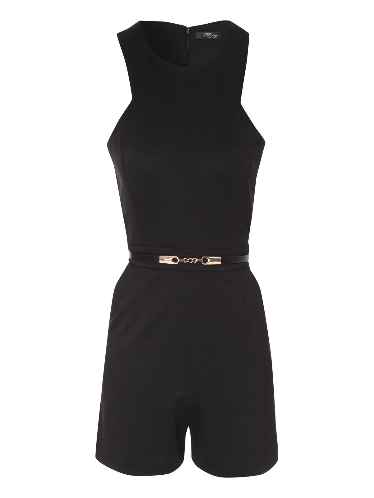 Black Sleeveless Belted Playsuit