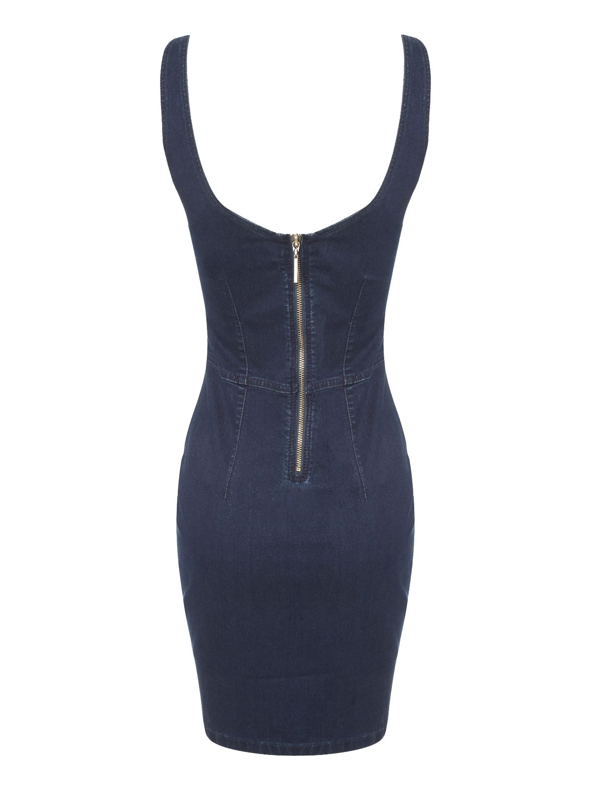 Denim sleeveless bodycon dress