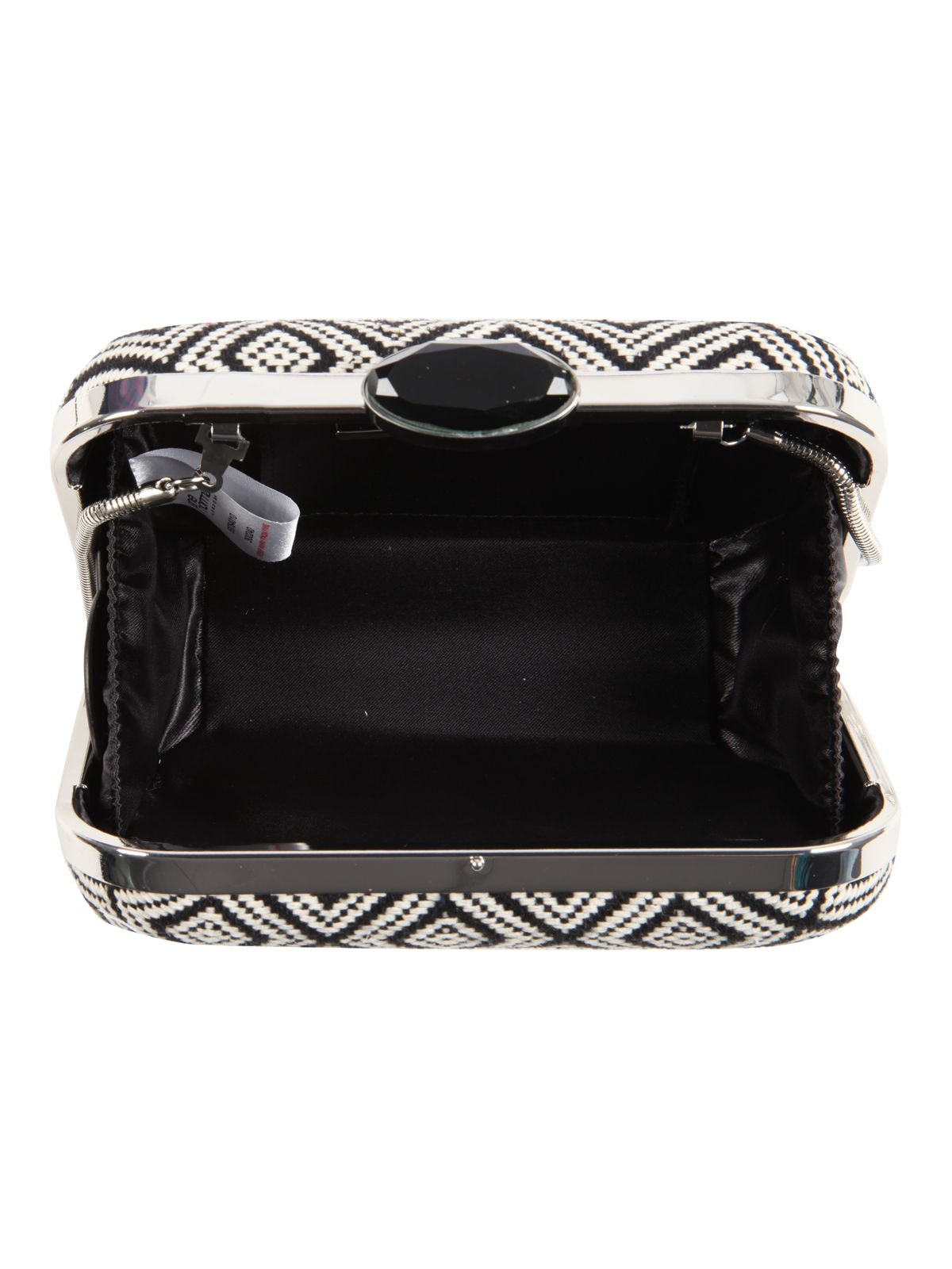 Monochrome Jacquard Box Clutch Bag