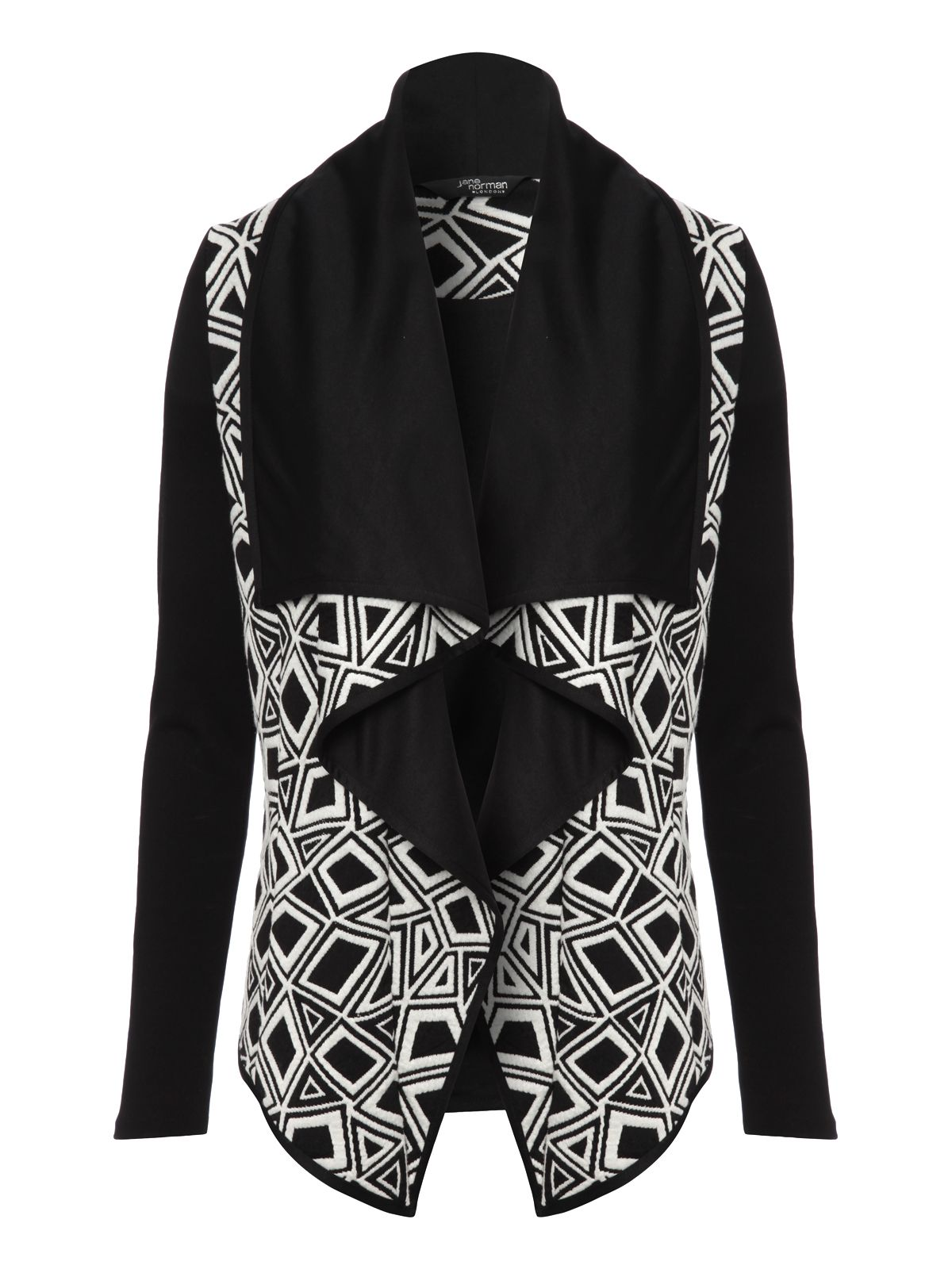 Jacquard monochrome waterfall jacket