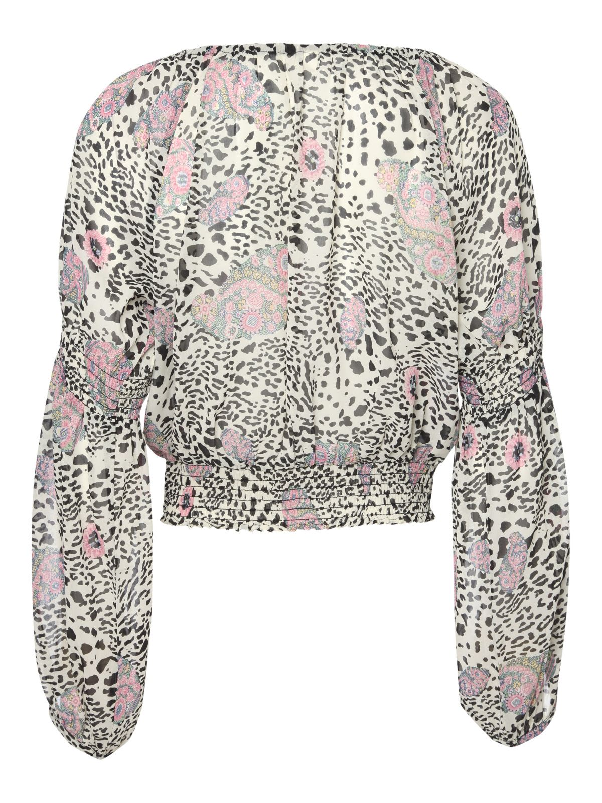 Sheer print long sleeve gypsy top