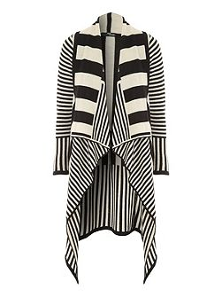 Mono Stripe Waterfall Cardigan