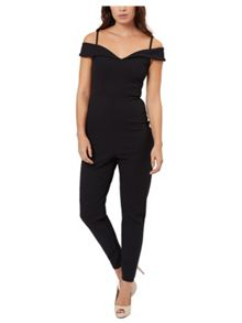 Jane Norman Black Bardot Jumpsuit
