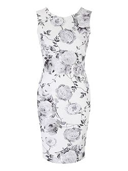 Black and White Floral Bonded Lace Dress