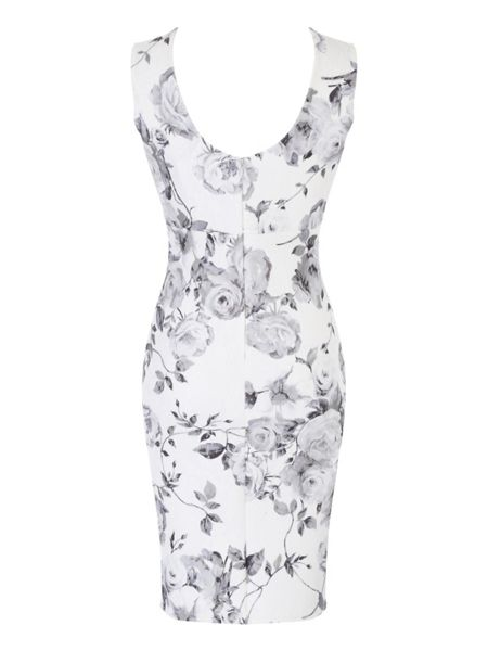 Jane Norman Black and White Floral Bonded Lace Dress