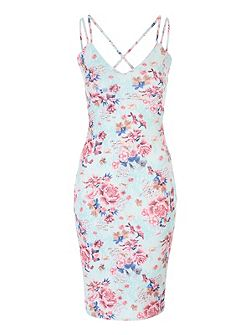 Floral Strappy Bodycon Dress