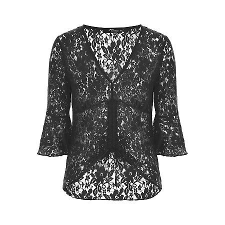 Jane Norman Black Ruched Lace Top, Black