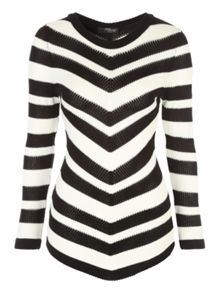 Jane Norman Mono Chevron Striped Jumper