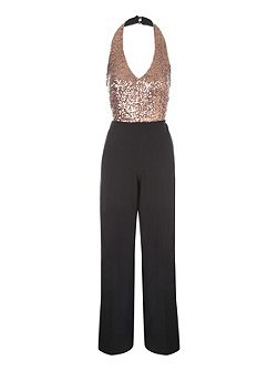 Gold Bodice Sequin Jumpsuit