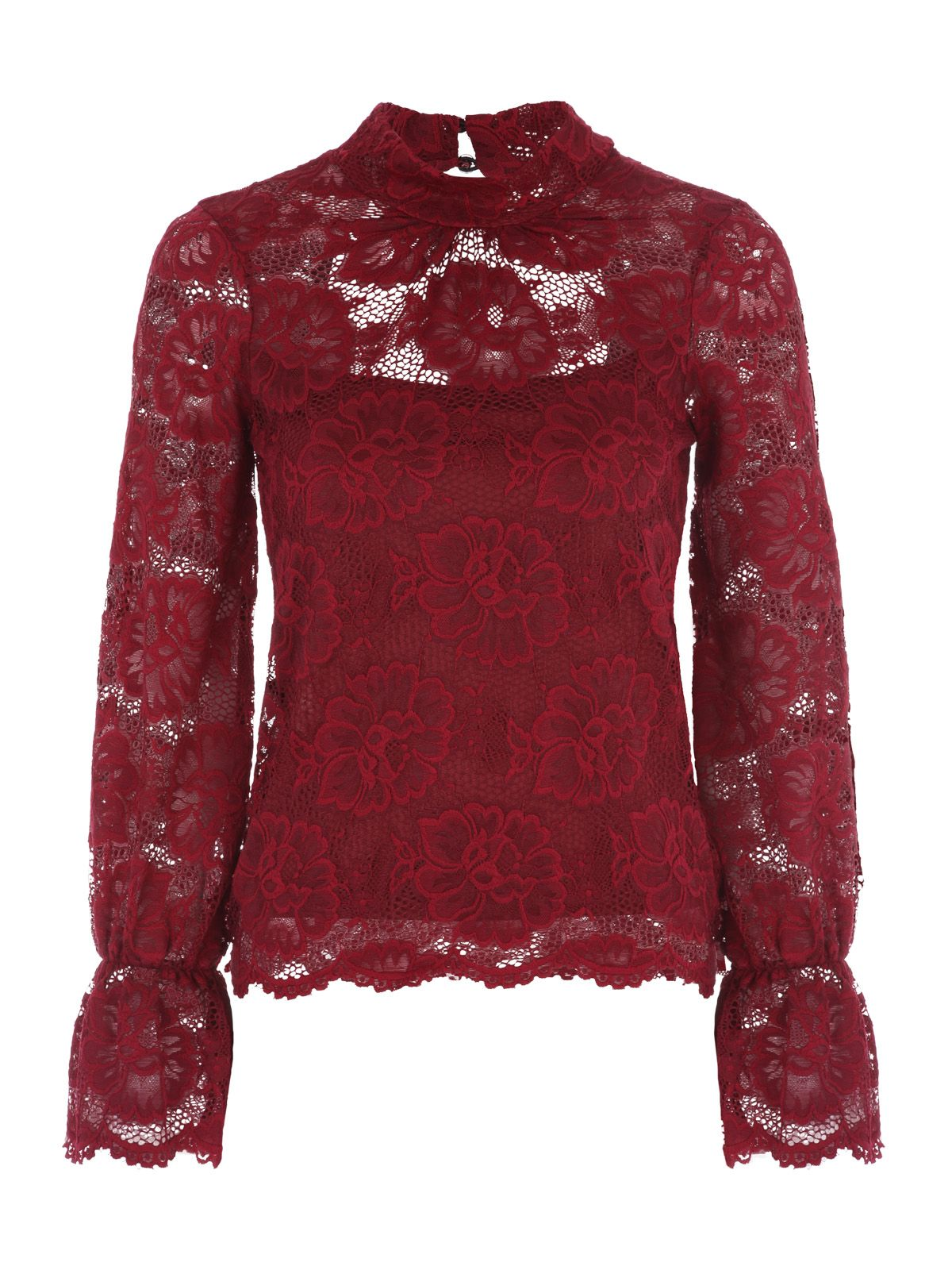 Jane Norman Bell Sleeve Lace Top, Berry