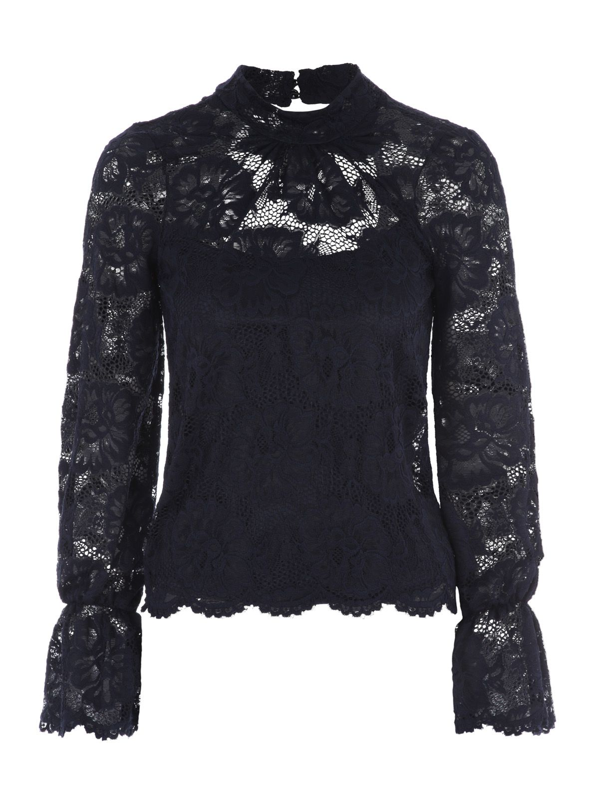 Jane Norman Bell Sleeve Lace Top, Blue