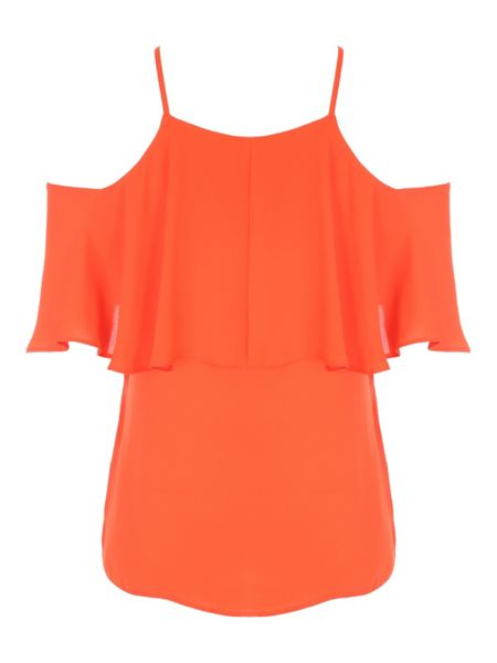 Jane Norman Cold Shoulder Ruffle Top