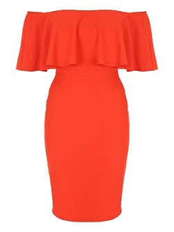 Ruffle Bodycon Bardot Dress