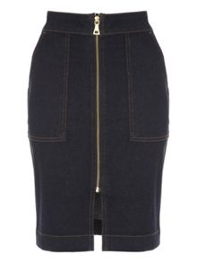 Jane Norman Denim Zip Up Pencil Skirt