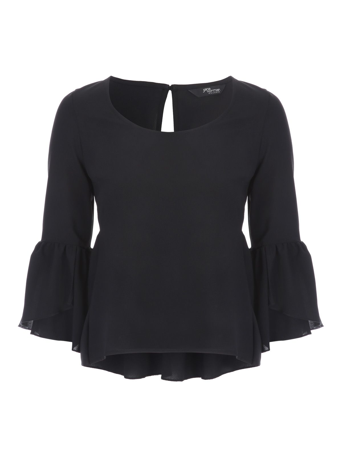 Jane Norman Black Frill Sleeve Cut Out Top, Black