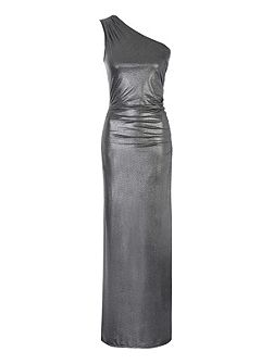 Foil One Shoulder Maxi Dress