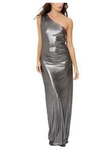 Jane Norman Foil One Shoulder Maxi Dress