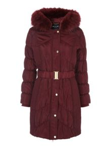 Jane Norman Black Long Line Faux Fur Trim Puffer Coat