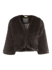 Jane Norman Black Faux Fur Shrug