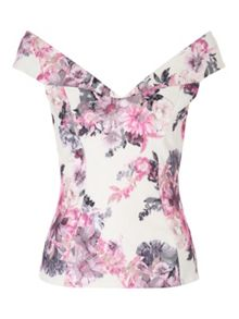 Jane Norman Floral Bartot Top