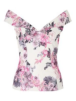 Floral Bartot Top