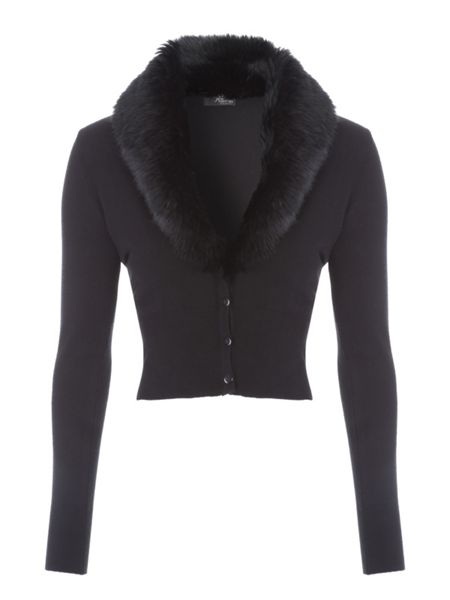 Jane Norman Faux Fur Collar Cardi