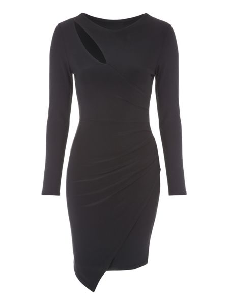 Jane Norman Slash Neck Asymmetric Wrap Dress