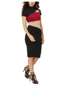 Jane Norman Black, Red and Nude High Neck Bodycon
