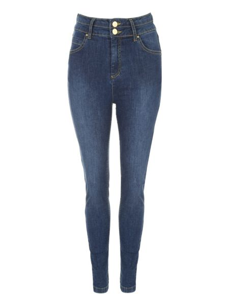 Jane Norman High Waist Button Skinny Jeans