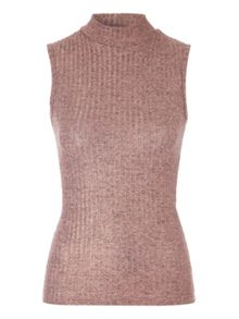 Jane Norman Pink Metallic Rib Top