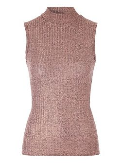 Pink Metallic Rib Top