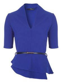Jane Norman Blue Belted Peplum Top