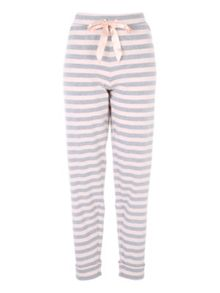 Jane Norman Pink and Grey Striped Loungewear Bottoms