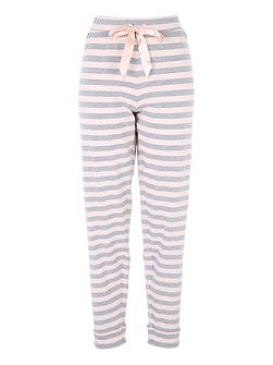 Pink and Grey Striped Loungewear Bottoms