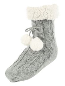 Jane Norman Grey Super Soft Slipper Socks