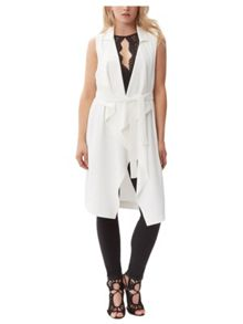 Jane Norman Cream Sleeveless Waterfall Jacket